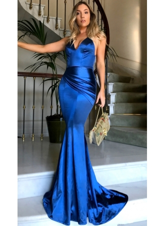 Royal Blue V-neck Open Back Sexy Formal Evening Dresses Silk Like Satin Evening Gown PT0386 BA69 ...