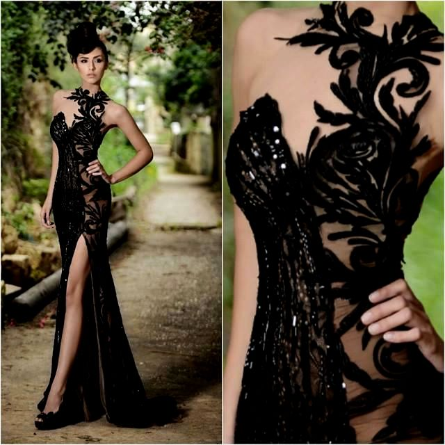 Sexy Front Split Black Lace Appliques Evening Gowns 2017 Beaded Sexy Formal Dresses BO7602_Eveni ...