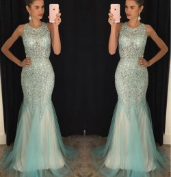 Sleeveless Luxury Scoop Crystal Mermaid 2018 Tulle Prom Dresses GA094 BA7309_Prom Dresses_2018 S ...