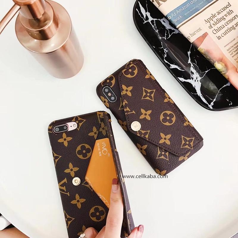 ブランド lv iPhoneXケース モノグラム アイフォン8プラスケース 耐衝撃 紙幣&小物収納 3色