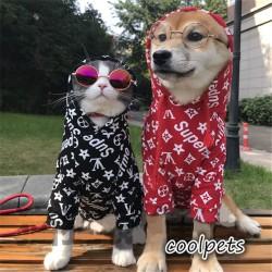 シュプリームx ルイヴィトン 犬の服 猫服 supreme lv パーカー ドッグウェア大人洋服 男女