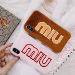 ブランド ミュウミュウ アイフォンX ケース miumiu 女子 iphone8 plusケース アップリケ オシャレ