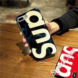 シュプリーム iphoneXカバー 鏡面 アイフォン 7プラス ソフトカバー ブラント Sup イニシャル