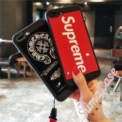 シュプリーム Chrome Hearts 鏡面 iphone8カバー アイフォン 7プラス ソフトカバー ストラップ付き