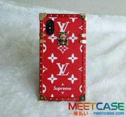 ルイヴィトン supreme iphoneXケース ヴィトン シュプリーム コラボ iphone8ケース レッド