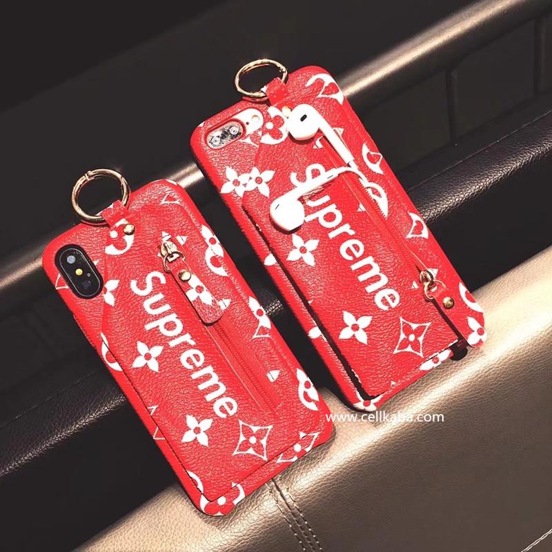 シュプリーム iPhone8 plusケース グッチ iphone xカバー バックバッグ 背面収納 スタンド機能 実用 レ ...