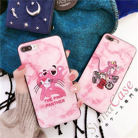 オリジナル マーブル アイフォンXケース ピンクパンサー柄 アップリケ iphone8ケース カッコイイ