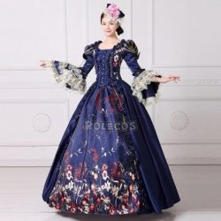 Medieval Renaissance Period Victorian Cosplay Dress Women Theater Halloween Costume