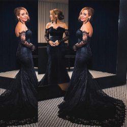Elegante Schwarze Abendkleider Mit Ärmel Meerjungfrau Spitze Abiballkleider Lang Günstig