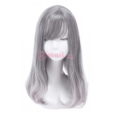 women medium long grey fashion wigs – L-email Cosplay Wig