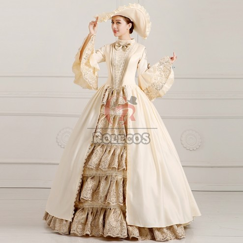 Women's Medieval Times Victorian Ball Gown Wedding Dress Royal Court Stage Costume