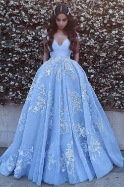 Blue Ball Gown Long Prom Dress