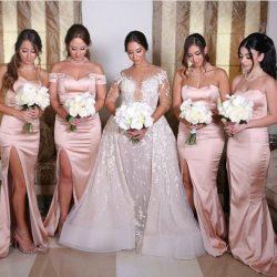 Elegante Rosa Brautjungfernkleider Lang Günstig Satin Kleider Für Brautjungfern