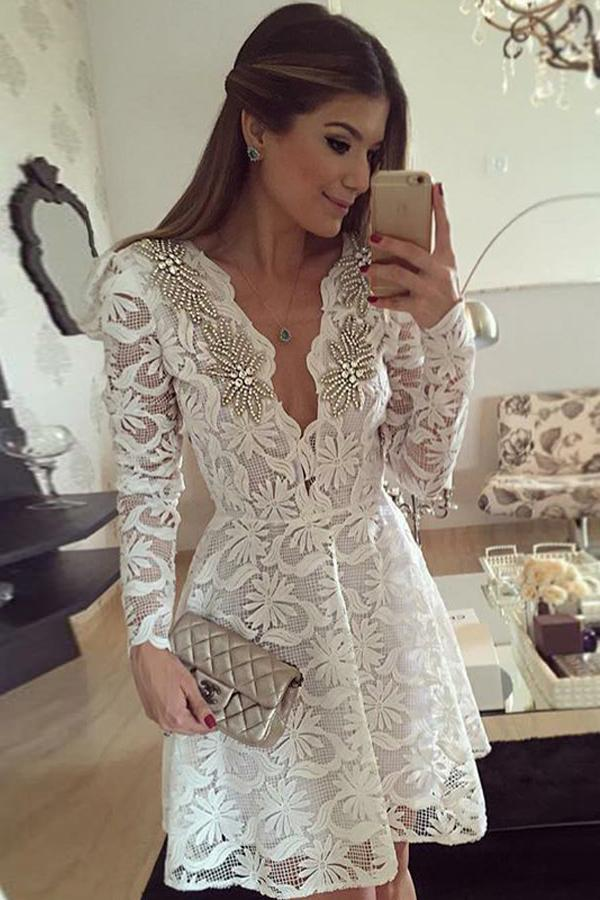 White Long Sleeve Beading Short/Mini Homecoming Dress