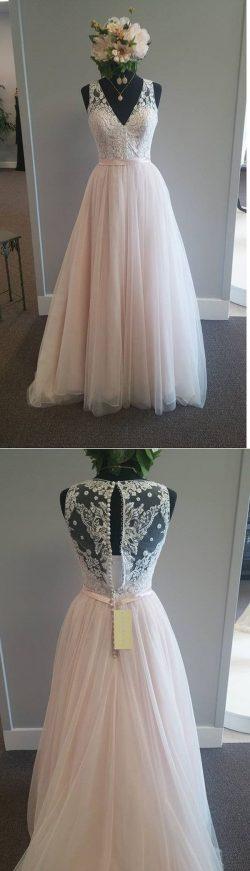 A Line Deep V Neck Sheer Back Appliques Cheap Wedding Gown,Beach Wedding Dress – Ombreprom