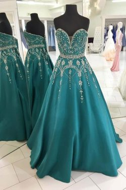 Green A Line Floor Length Sweetheart Sleeveless Beading Prom Dress – Ombreprom