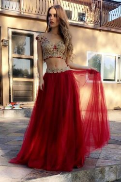 Red Two Piece A Line Floor Length Layers Appliques Prom Dress – Ombreprom