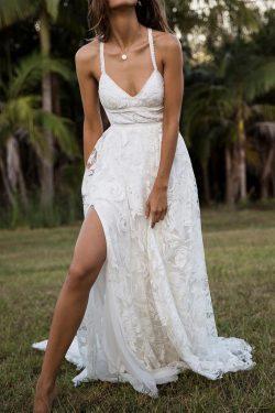 Charming Lace Long A-line Spaghetti Straps Split Beach Wedding Dress – Okdresses
