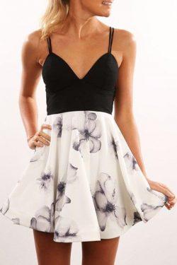 Chic Straps Deep V Neck Short Knee Length Homecoming Dress M478 – Ombreprom