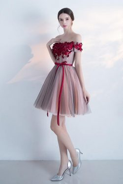 Elegant Off the shoulder Red Appliques A Line Homecoming Dress With Belt – Okdresses