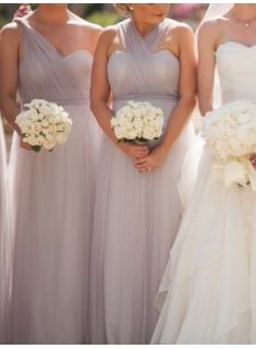 Graue Brautjungfernkleider Lang Günstig Tüll Keider Für Brautjungfern
