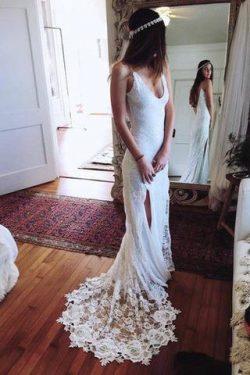Romantic Boho Backless Lace Mermaid Elegant Ivory Wedding Dress