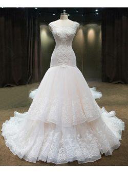 Luxury Brautkleider Mit Spitze Perlen Tüll Hochzeitskleid Günstig