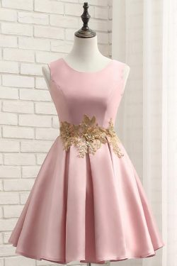 Pink A Line Sleeveless Ruched Homecoming Dress with Gold Appliques, Short Prom Dress – Simibrida ...