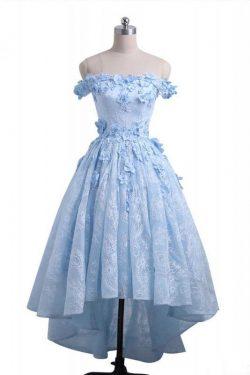 A Line Off Shoulder High Low Lace Homecoming Dresses, Appliqued Lace Party Dresses – Simibridaldress
