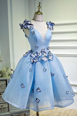 A Line Sky Blue V Neck Sleeveless Junior Homecoming Dress with Butterfly Flowers – Simibridaldress