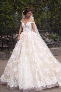 Gorgeous Sheer Neck Cap Sleeves Lace Appliques Wedding Dress, Light Champagne A Line Bridal Dres ...