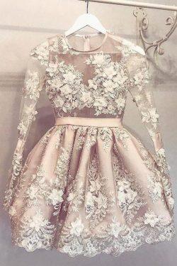 Long Sleeve Homecoming Dress Flower Short Prom Dress Party Dress, – Simibridaldress