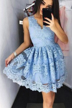 Mini V-Neck Blue Homecoming Dress,Lace Appliqued Sweet 16 Dress – Simibridaldress