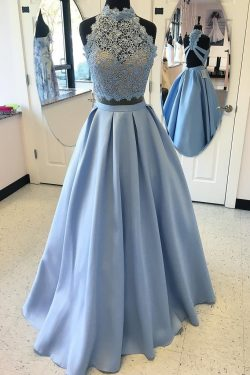 2 Piece Satin High Neck Prom Gown,Floor Length Prom Dress With Lace Top OKC76 – Okdresses