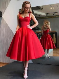 Red Bowknot Straps Short Prom Dress, Cut Out Back Homecoming Dress, OP148 – ombreprom.co.uk