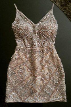 Sheath Spaghetti Straps Beading Homecoming Dresses,Short Cocktail Dress OKC67 – Okdresses