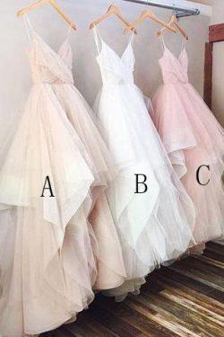 Simple A-line V-neck Spaghetti Straps Long Wedding Dress OKC83 – Okdresses