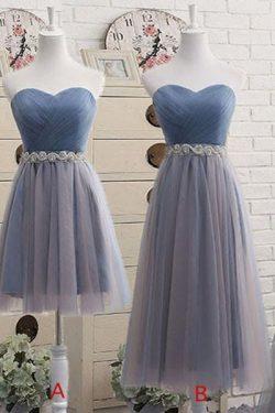 Strapless Sweetheart Tulle Bridesmaid Dresses With Beading Waist – Simibridaldress