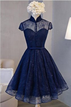 Vintage A-line High Neck Short Sleeve Navy Blue Lace Homecoming Dress – Okdresses